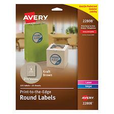 "Avery Round Print-to-the-Edge Labels 2 1/2"" dia Brown Kraft 225/PK 22808"