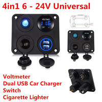 Car  Boat 4in1 Control Panel Voltmeter+Dual USB Charger+Switch+Cigarette Lighter