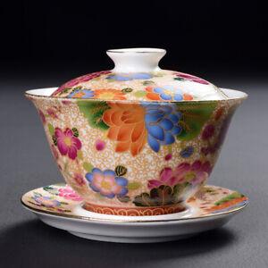 150ml Jingdezhen Handpainted Gaiwan Porcelain Tureen Cup Bowl Kung Fu Tea Set