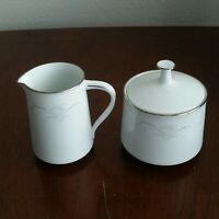 NORITAKE CASABLANCA 6842 Fine China--Sugar Bowl w/ Lid & Creamer (Set of 2) Mini