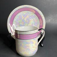 Vintage Lusterware Tea Cup Saucer Iridescent Pink Black Opal Germany