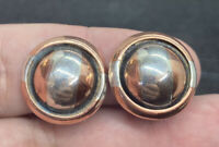 Vintage Sterling Silver 925 & Copper Striped Button Style Clip On Earrings