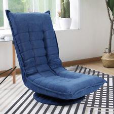 360 Degree Swivel Adjustable Folding Floor Chair Lazy Sofa Cushion Gaming Blue
