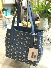 JIMMY CHOO SMALL SOFIA STAR STUDDED TOTE GRAB BAG STONE BLUE MADE IN ITALY NEW
