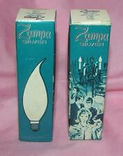 2 Vtg 1970s Unused Flame Shaped Clear C7 Candelabra Bulbs For Xmas, Holidays Iob