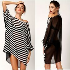 Black & White  Stripes Monochrome Beach Wear Cover- up  Holiday Dress One Size