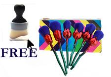 6pcs rose flowers shape makeup brush set with bag. and FREE gift single brush