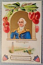 Vintage 1912 GEORGE WASHINGTON POSTCARD Bellingham WA pm USA Shield cherries