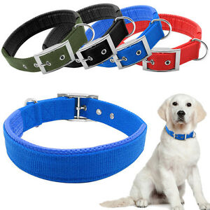 Durable Nylon Military Dog Collars Soft Padded Metal Buckle Army Green Red Blue