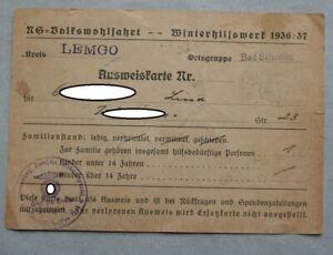 Winterhilfswerk 1936/37 Ausweiskarte Kreis Lemgo Bad Salzuflen NS Volkswohlfahrt