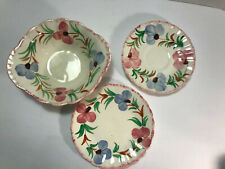Blue Ridge Southern Pottery Hand Painted Pink Blue Flower Bowl, Saucer, & Plate