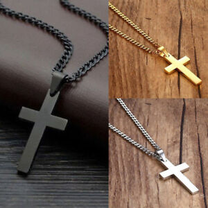 Mens Women Chain Necklace Black Cross Stainless Steel Pendant Crucifix Jesus