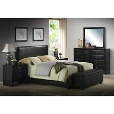 Platform KING Size Bed Black Leather Headboard Bedroom Furniture