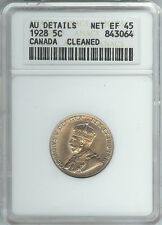 Canada- George V - 5 Cent 1928 XF-45 Cleaned - ANACS Certified