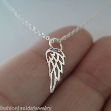 Tiny Angel Wing Necklace - 925 Sterling Silver - Charm Memorial Faith Wings NEW