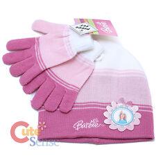 Disney Barbie Beanie Gloves 2pc Set - Pink Flower  (Kid-Junior)