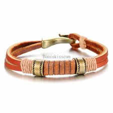 Copper Brown Double Leather Cord String Strap Bracelet Wristband Men's Gifts