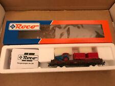 Roco 47499 2-Achser Rungenwagen mit Zirkusanhänger und Traktor Krone Spur H0 NEU