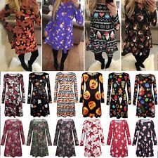 Womens Ladies Christmas Long Sleeve Mini Dress Party Xmas Festival Skater Dress