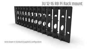 19 INCH RACK MOUNT 3U FOR 12X RASPBERRY PI (EXPANDABLE TO 16) - FRONT REMOVABLE