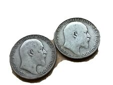 More details for nice pair of edward vii sterling silver florins (dates rubbed)