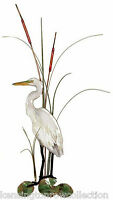 WALL ART - SNOWY WHITE EGRET METAL WALL SCULPTURE - NAUTICAL WALL DECOR