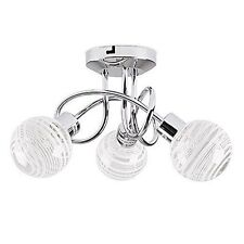 Modern 3 Way Polished Chrome Flush Curved Arm Ceiling Light With Clear