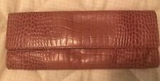 Ann Taylor Leather Pink Croc Embossed Clutch Nice Storage 5x11