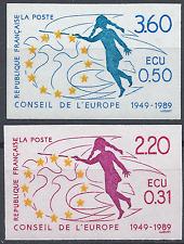 TIMBRE DE SERVICE CONSEIL EUROPE N°100/101 NON DENTELÉ IMPERF 1989 NEUF ** MNH