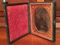 Civil War 1/6th plate Ambrotype Confederate Soldier, North Carolina? Full Case