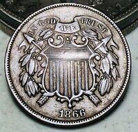 1866 Two Cent Piece 2C FULL MOTTO High Grade Civil War Era US Copper Coin CC6777