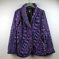 Bob Mackie Wearable Art Women's Jacket Fleece Feather Aztec Print Purple Sz XXS
