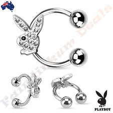 Genuine Playboy 316L Surgical Steel Horseshoe Ring with Gemmed Playboy Bunny