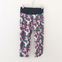 Betsey Johnson Performance Womens Floral Dots Leggings Capri Cropped Size Small