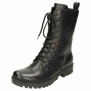 Rieker Lace Up Flat Mid Calf Boots 78544-00 Black Leather Combat Military Zip