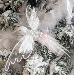 Shabby Chic Victorian Hummingbird Pink Rose Glitter Clip Christmas Tree Ornament