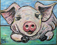 STINKY THE PIG farm animal pet hog painting 8x10 canvas original signed Crowell