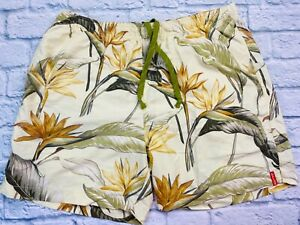 Tommy Bahama Swim Trunks Floral Bird of Paradise Mesh Lining Pockets Yellow Sz L