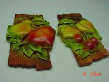Vintage Set Chalkware Plaques Kitchen Fruit Dated 1970 Miller Studio Kitchen
