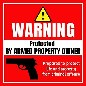 Home Security Sign Gun Sticker 5x5 Warning NRA Water & Weather Resistant Decal