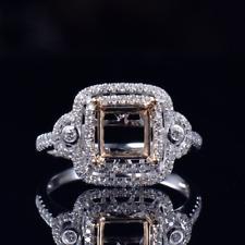 Princess Cut 6.5×6.5mm Solid 14K Gold Natural Diamond Semi Mount Ring Setting