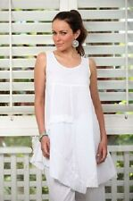 Neemah White Cotton Tunic Top, White Sleeveless Tops, Summer Tops, Size 12