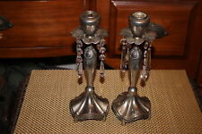 Vintage Gothic Candlestick Holders-Pair-Hanging Crystals-Silver Metal