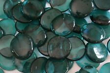 100 Pcs Extra Large Teal Glass Gems, Pebbles, Mosaic Tiles,Nuggets