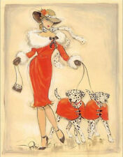 DALMATIAN COACHING DOG ART PRINT - FASHION GLAMOUR LADY in RED - ART DECO style