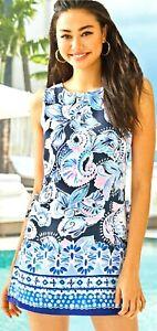 Lilly Pulitzer Donna High Tide Navy Holy Flockamolie Shift Dress Short Romper