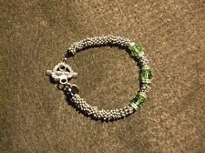 "Pretty Fits A Size 7"" Wrist Fashion Bracelet Green And Silver Handmade, Real"