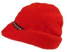 "Vintage Men's Red Fleece Hat Large 23"" Embroidered Trim Nordic Winter USA Made"