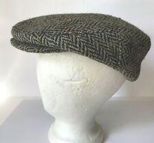 Herringbone Tweed Irish Wool BROWN Newsboy Donegal Flat Cap Hat Size 7 1/8 58 M