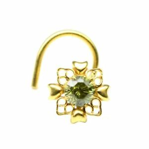 Indian Nose ring Green CZ studded gold plated corkscrew piercing nose stud